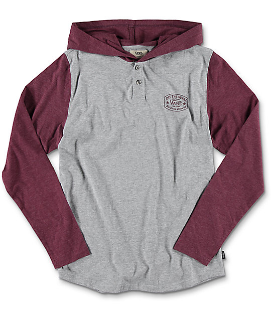 Vans Robles Heather Port Boys Hooded Long Sleeve T-Shirt