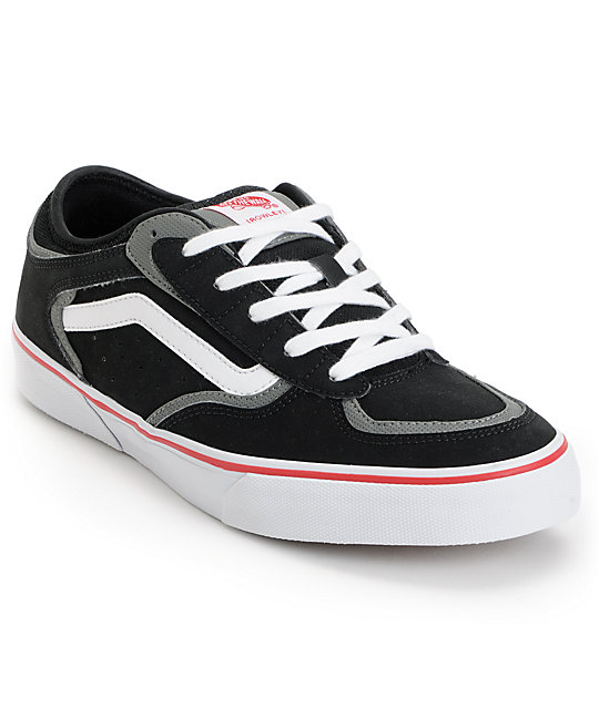 Vans Rowley Pro Black, Red, & White Skate Shoes (Mens)