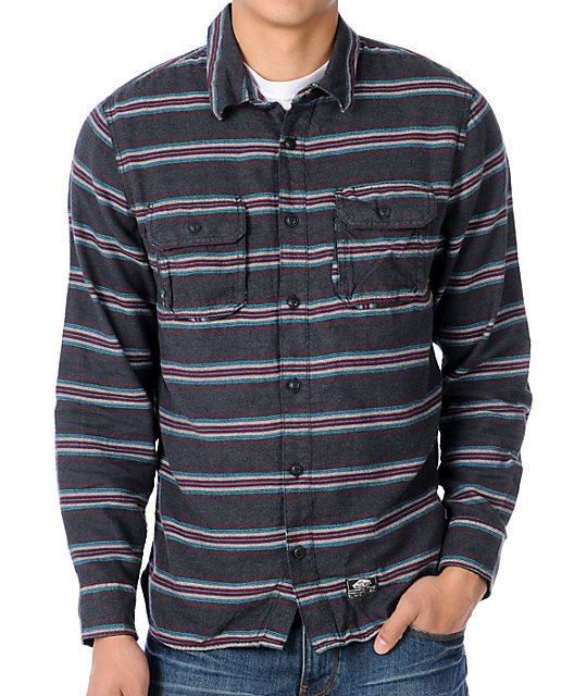 Vans Ruskin Charcoal Striped Flannel Shirt