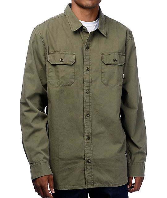 Vans Rutger Green Long Sleeve Woven Button Up Shirt