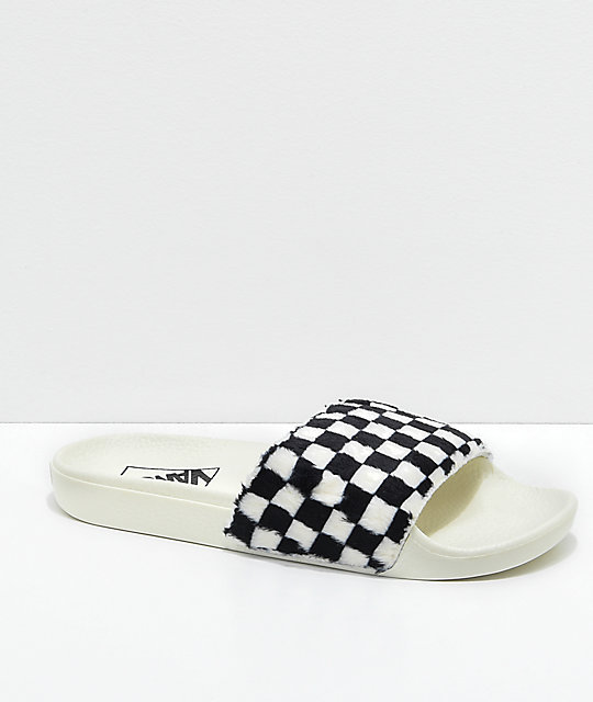 Vans Sherpa Checkerboard Slide-On Sandals