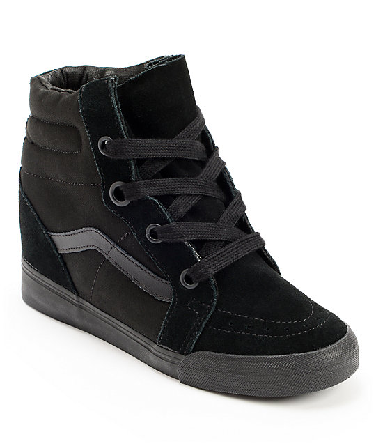 Vans Sk8-Hi All Black Wedge Shoes (Womens)