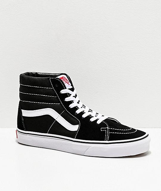 vans sk8 hi black white skate shoes