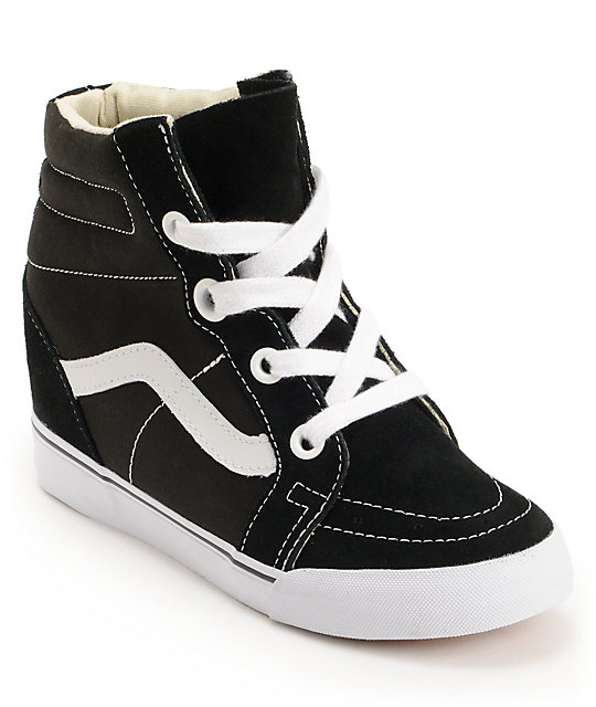 Vans Sk8-Hi Black Wedge Shoes (Womens)
