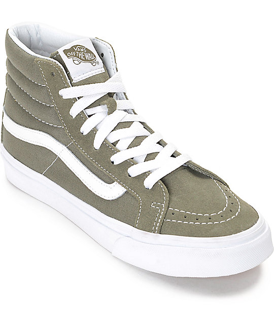 Vans Sk8 Hi Gleaf Olive Womens Skate Shoes