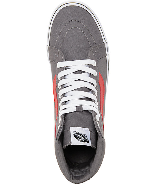 Vans Sk8-Hi Grey and Red Canvas Skate Shoes