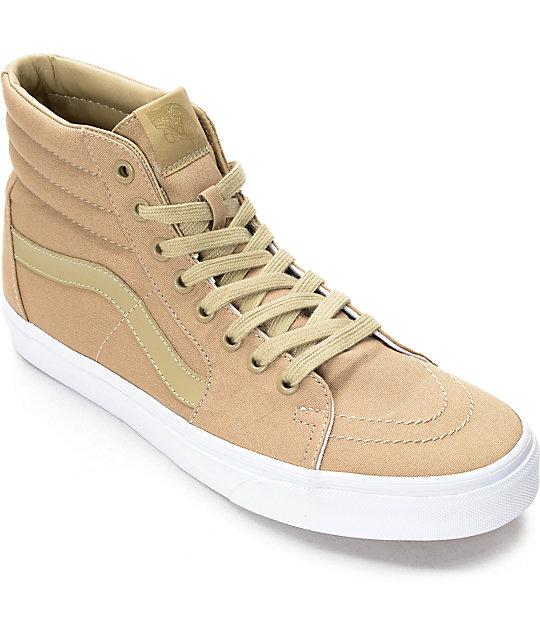 Vans Sk8-Hi Khaki & White Skate Shoes