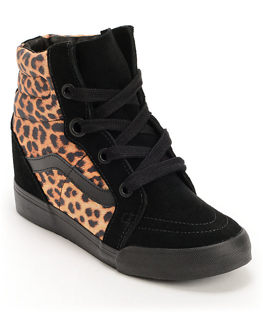 Vans Sk8-Hi Leopard Wedge Shoes (Womens)
