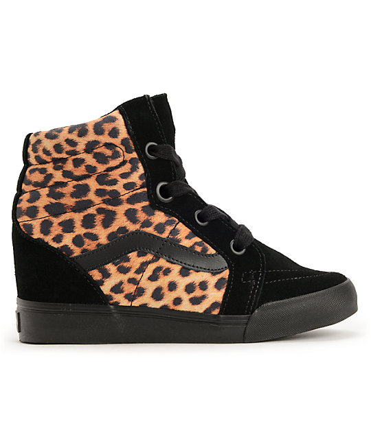 Vans Sk8-Hi Leopard Wedge Shoes
