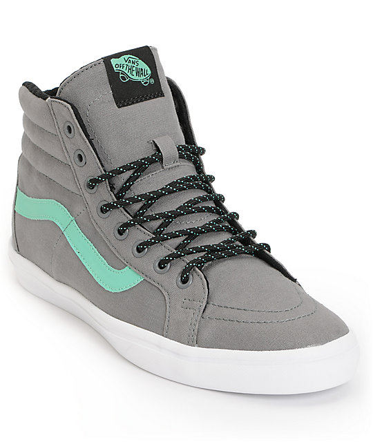 Vans Sk8-Hi Lite Frost Grey & Green Canvas Skate Shoes (Mens)