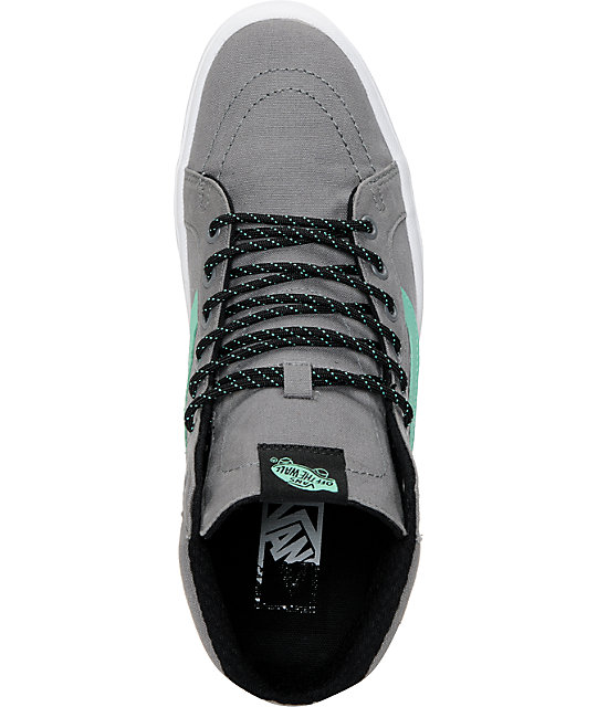 Vans Sk8-Hi Lite Frost Grey & Green Canvas Skate Shoes