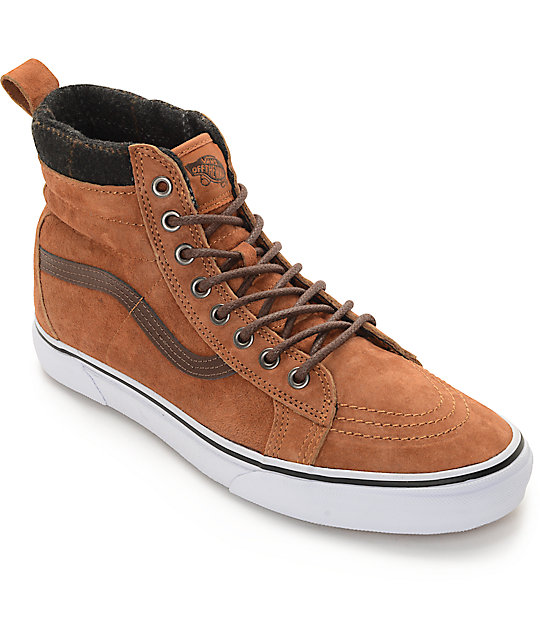 Vans Sk8-Hi MTE Glazed Ginger and Plaid Shoes (Mens)