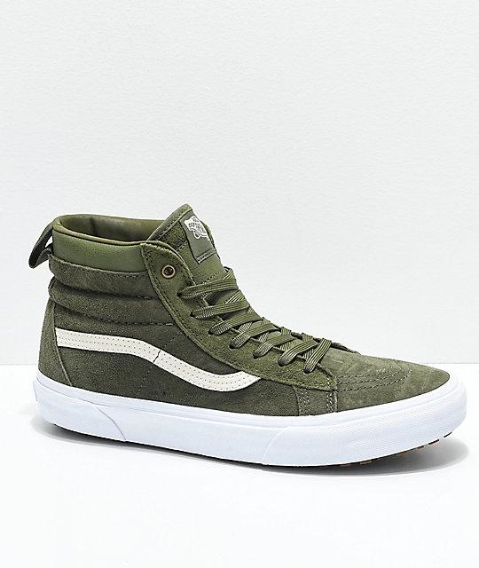 dark green vans sk8 hi