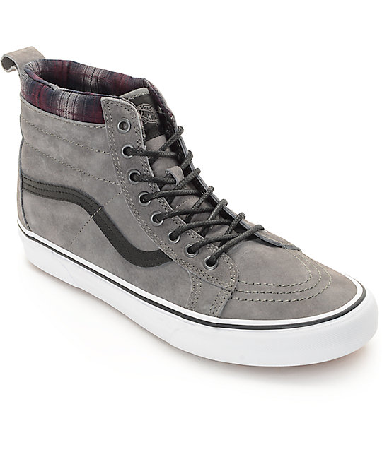 Vans Sk8-Hi MTE Pewter and Plaid Shoes