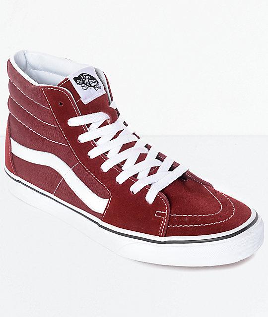 Vans Sk8-Hi Madder Brown & White Skate Shoes