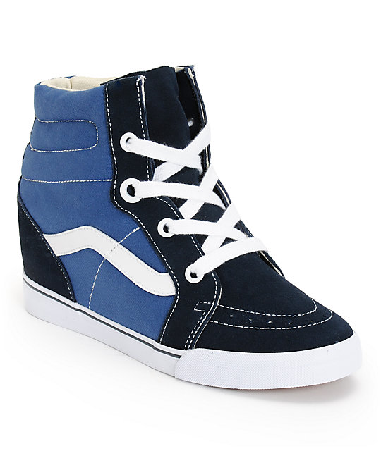 Vans Sk8-Hi Navy & True White Wedge Shoes (Womens)