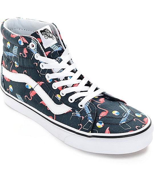 Vans Sk8-Hi Pool Vibes Black and White Skate Shoes