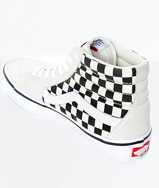 Vans Sk8-Hi Pro Black & White Checkered Skate Shoes
