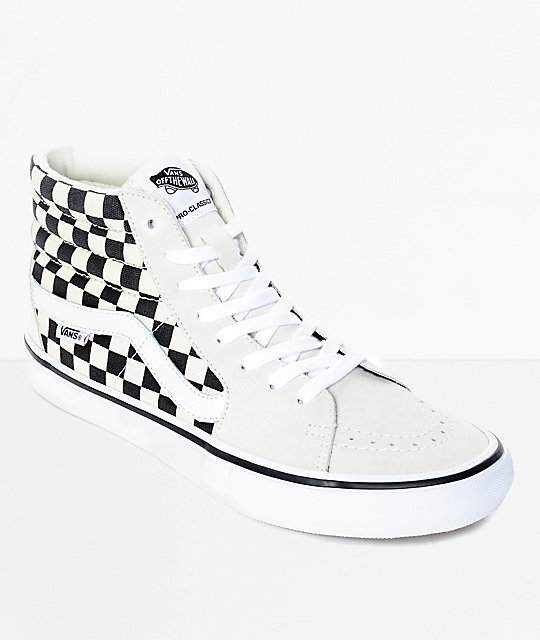 Vans Sk8-Hi Pro White & Black Checkered Skate Shoes