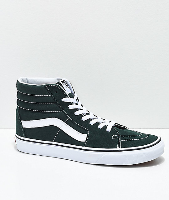 Vans Sk8-Hi Scarab Green & White Skate Shoes