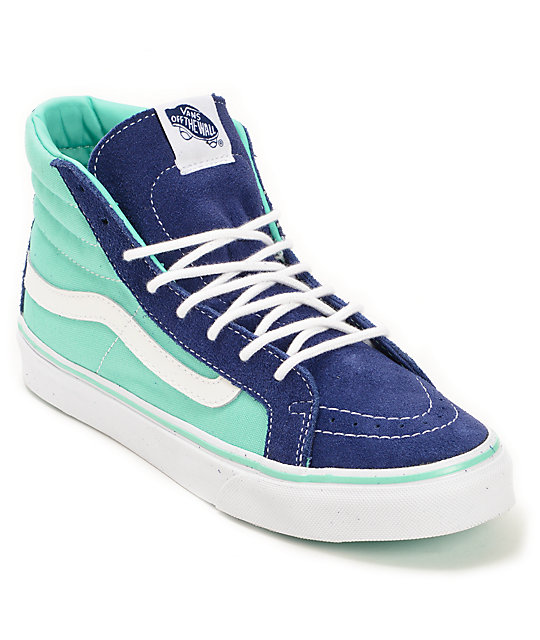 vans sk8-hi slim 2 tone blue & cockatoo skate shoes