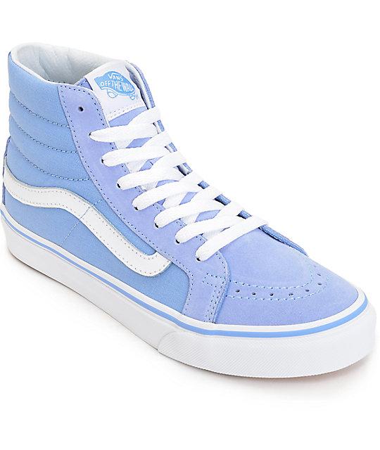 vans sk8 hi slim bel air blue amp white shoes zumiez