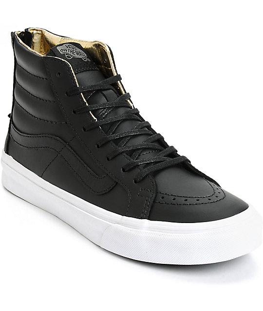 Vans Sk8-Hi Slim Black & Gold Leather Shoes (Womens)