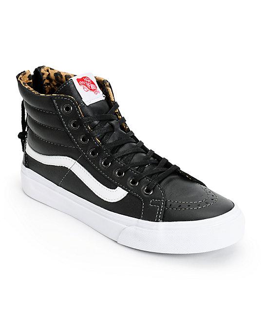 Vans Sk8-Hi Slim Black Leather & Leopard Zip Shoes (Womens)
