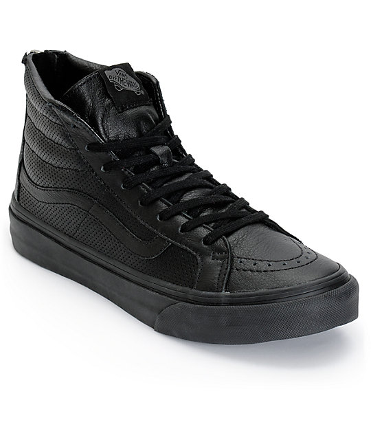 Vans Sk8-Hi Slim Black Perforated Shoes (Womens)