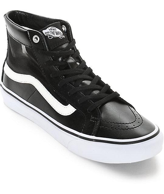 vans sk8 hi slim skate shoe black/white