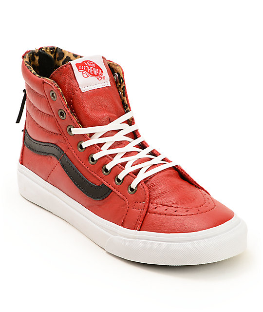 Vans Sk8-Hi Slim Red Leather Zip Shoes (Womens)