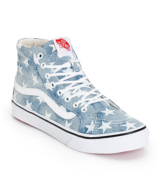 Vans Sk8-Hi Slim Washed Stars Shoes (Womens)