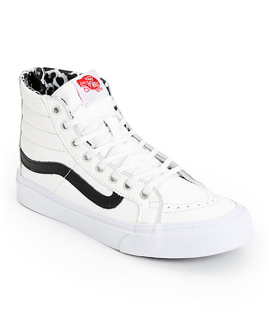 Vans Sk8-Hi Slim White Leather & Leopard Zip Shoes (Womens)