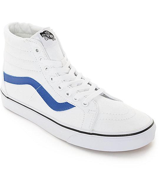 Vans Sk8-Hi White and Blue Canvas Skate Shoes