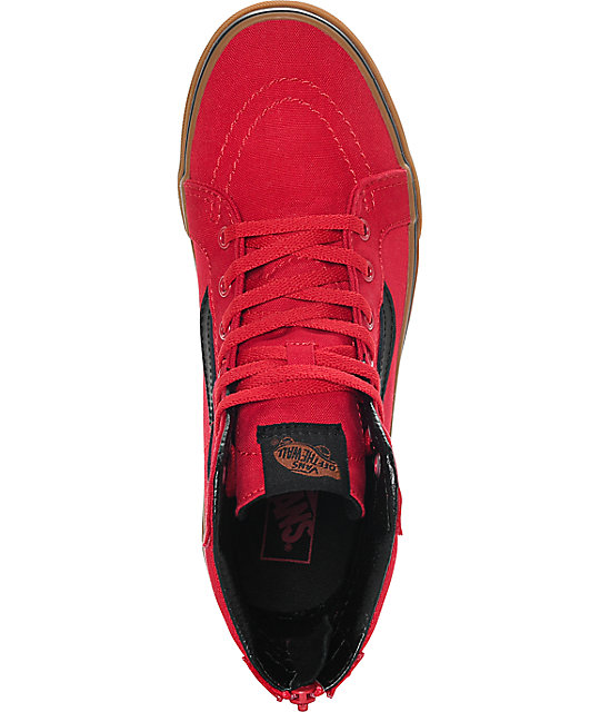 Vans Sk8 Hi Zip Red & Gum Boys Shoes