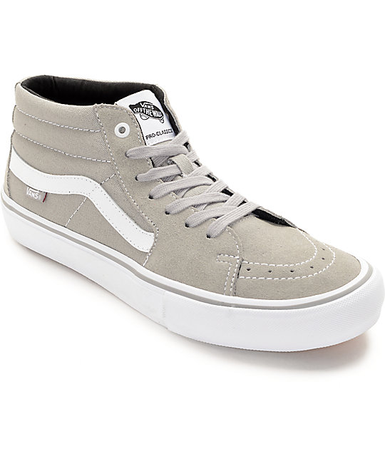 Vans Sk8-Mid Pro Drizzle Grey & White Skate Shoes
