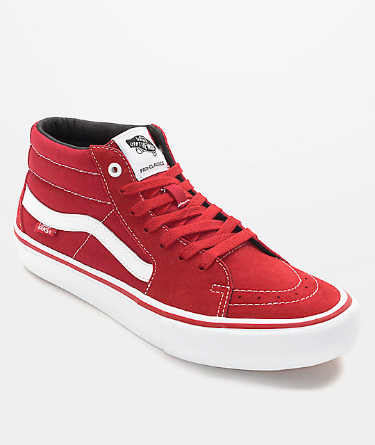 Vans Sk8-Mid Pro Scarlet Red & White Skate Shoes at Zumiez : PDP