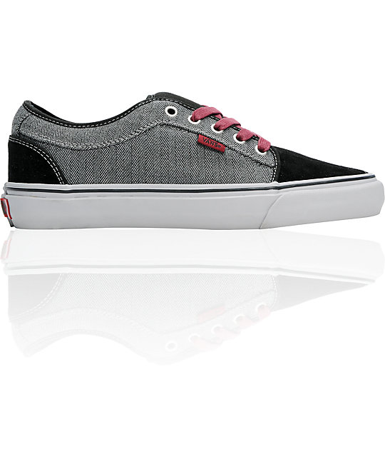 Vans Skate Shoes (Mens) Chukka Low Black & Grey Herringbone Skate Shoes (Mens)