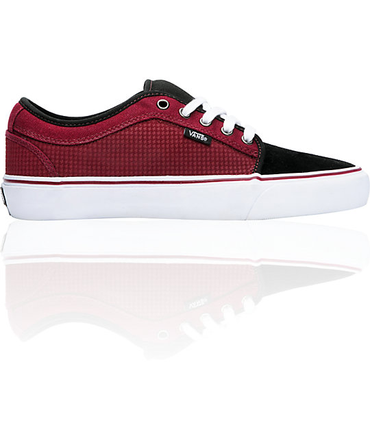 Vans Skate Shoes Chukka Low Black & Ruby Houndstooth Skate Shoes