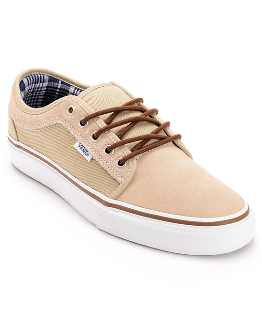 Vans Skate Shoes Chukka Low Tan & White Skate Shoes