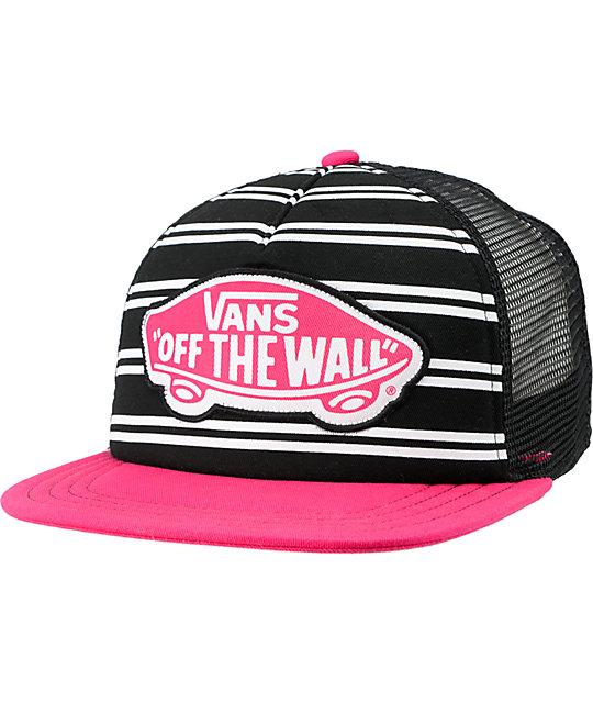 Vans Skimmer Black & Pink Trucker Hat
