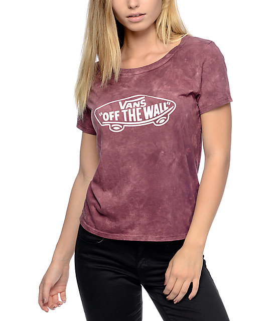 Vans Skimmer Burgundy Cloudwash T-Shirt Vans T Shirt For Girls