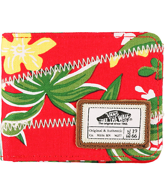 Vans Slasher Red Hawaiian Print Bifold Wallet