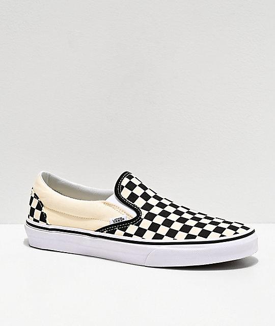 Vans Black And White Vans Slip-On Bl...