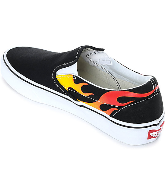 Vans Slip-On Flame Black & White Skate Shoes