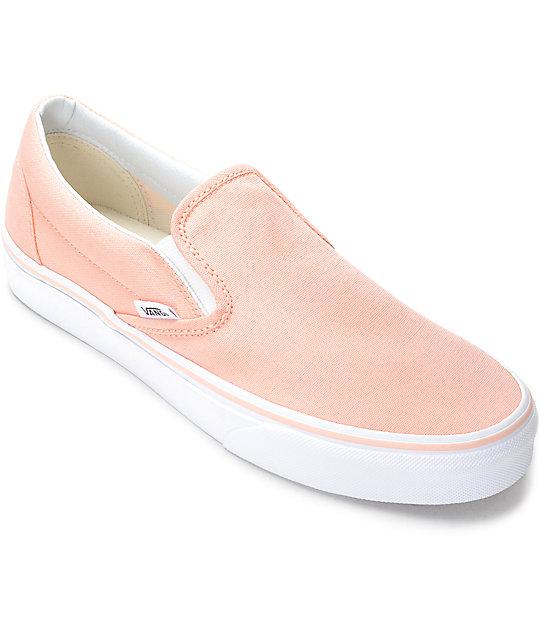 Vans Slip-On Tropical Peach u0026 White Canvas Shoes (Womens ...