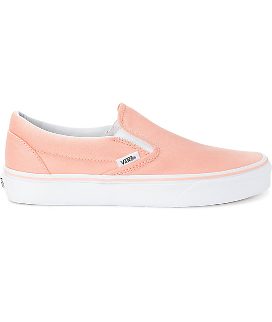 Vans Slip-On Tropical Peach & White Canvas Shoes
