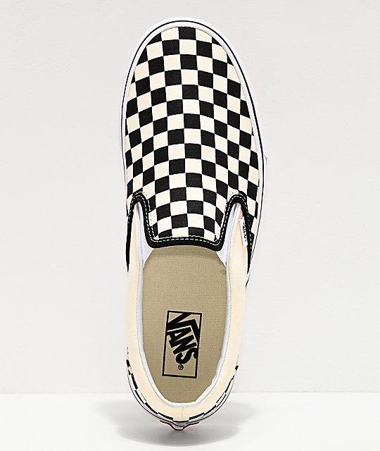 En Negro A Vans Cuadros De on Zapatos Slip Skate Blanco Y nv0wmN8O