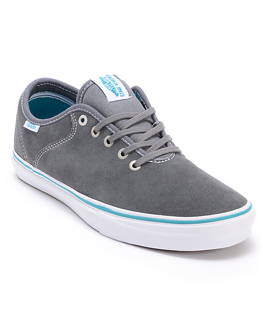 Vans Stage 4 Low Andrew Allen Grey & Teal Suede Skate Shoes (Mens)