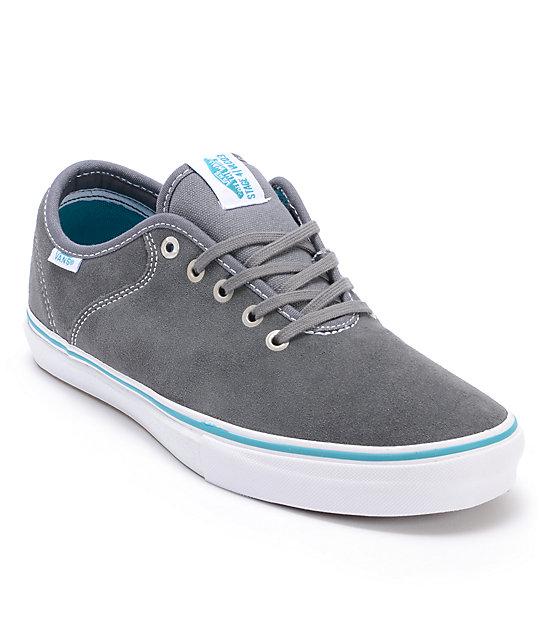 Vans Stage 4 Low Andrew Allen Grey & Teal Suede Skate Shoes (Mens)